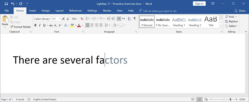 Lightkey 11 - Introducing Proactive Grammar  - Lightkey is a free predictive typing / text prediction / auto-complete / word prediction / spelling correction desktop application for Word, Outlook, PowerPoint, Gmail, WhatsApp Web and more in Microsoft Windows, supporting more than 80 prediction languages.