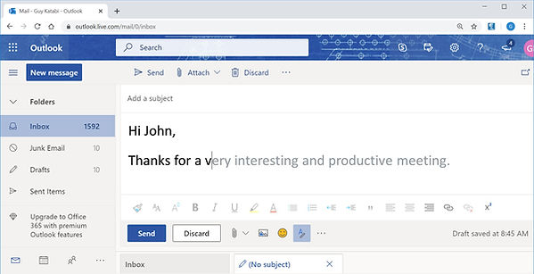 Compose Emails In Lightning Speed Using Multiple Email Accounts. Lightkey's Chrome Extension natively supports predictive text in Gmail, Outlook Mail and Yahoo Mail. Many of use multiple emails accounts for different purposes (for example: a business email account and a personal email account). Using its machine learning capabilities Lightkey learns your typing patterns, regardless of which mail account you're using and will help increase your productivity over time using its multi-word prediction feature. In this example we can see Lightkey's multi-word prediction technology in action using Outlook mail, suggesting the rest of the sentence including the ending period.