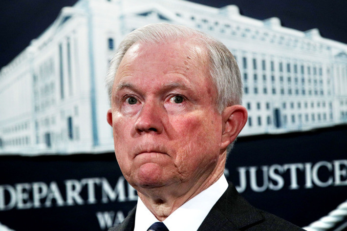 "Attorney General said the Justice Department would not pursue ""small"" marijuana offenses"
