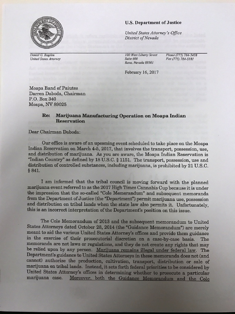 Cannabis Cup Letter from Government