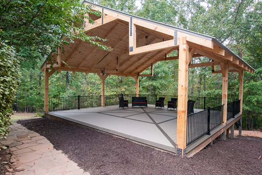 Outdoor meditation & Wine Pavillion