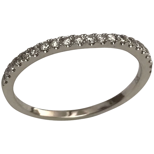 14 K White Gold Diamond Wedding, Anniversary, Stack Able Band