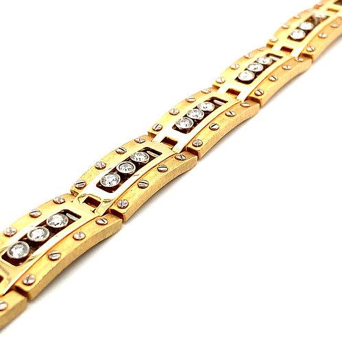 Men's Statement Piece!14k Gold & 2.5ct Diamonds Bracelet Big Bling!