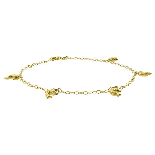"""10k Yellow Gold Dolphin Charm Anklet Measures 10"""" Weighs 2.5g"""