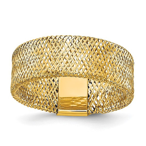 Handcrafted 14k Yellow Gold Mesh Textured Polished Cocktail Statement Ring 7.5mm