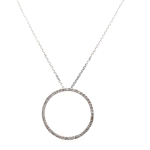 "Beautiful Sweet Diamond Open Circle Pendant & 14K White Gold Necklace 16"" NICE!"
