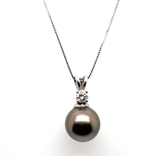 Absolutely Stunning IGI Certified Black Pearl & Diamond Necklace Handcrafted 14k