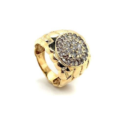 Men's 10K Gold 1 Carat Diamond Statement Ring