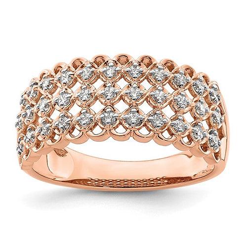 Stunning 14k Rose Gold & Diamond Wedding Band 0.33ct 8.9mm