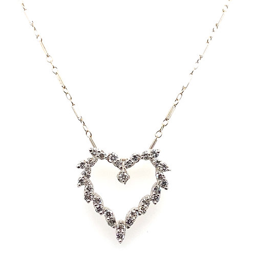 Upscale Beautifully Designed Heart Shape Diamond Pendant & 14K White Necklace