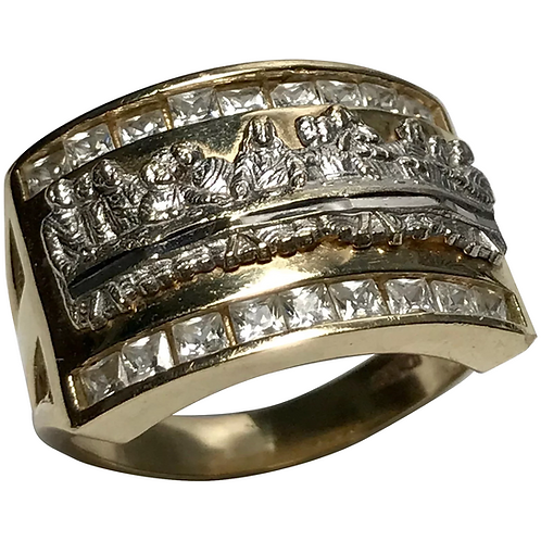 10 k Two Tone Religious & Simulated Diamond Wide band