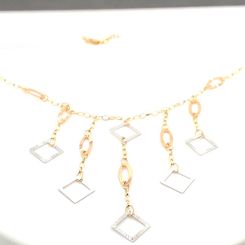 Beautiful 14K Tri Gold Decor Accents Necklace