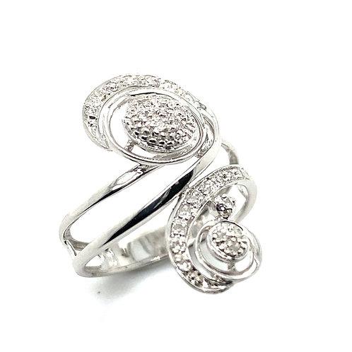 Beautiful Unique Fancy Ring Handcrafted 14K White Gold & Diamond Swirl Design