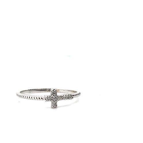 Sweet Dainty 14k Handcrafted White Gold & Diamond Cross Ring Beautiful Piece!