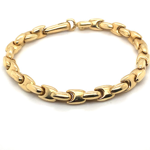 """Chain Link Handcrafted 14K Gold Bracelet Measures 8""""  Thickness 7mm"""