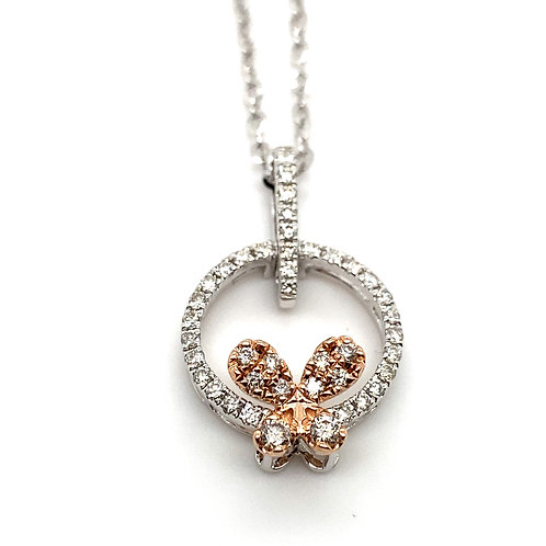 Stunning 14K White Gold Diamond Bow Necklace