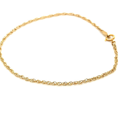 """Sweet, Delicate, Dainty Handcrafted 14k Gold Chain Link Bracelet 2mm Measures 7"""""""