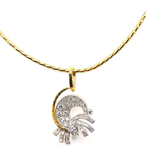 "IGI Certified Unique Diamond Pendant & Diamond Cut Yellow Gold Necklace17"""