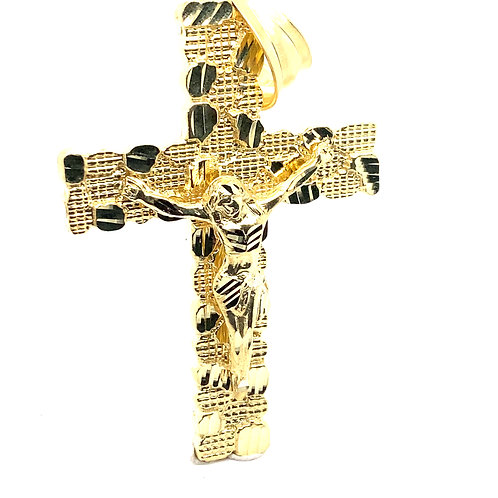 Beautiful HUGE Handcrafted 10k Solid Yellow Gold Jesus Christ on Cross Pendant