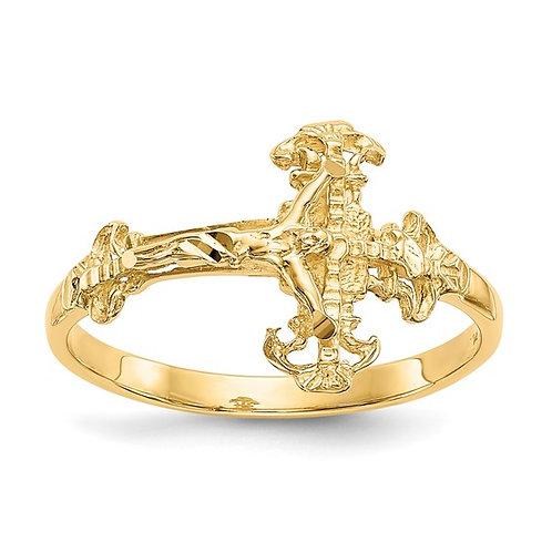 14K Diamond Cut Yellow Gold Crucifix Ring Religious Jesus on Cross Gorgeous