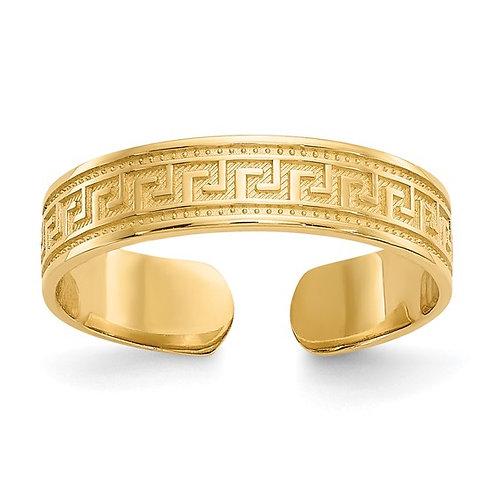 14K Yellow Gold Greek Key Design Toe Ring 4mm 0.99g NICE!