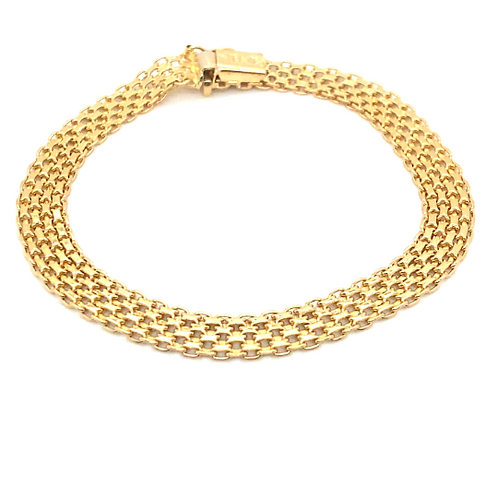 Beautiful 14K Handcrafted Yellow Gold Bracelet Upscale Quality Measures 7.5""