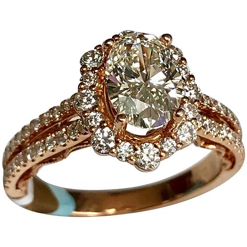 18 K Rose Gold 1.93 CTW Oval Diamond Engagement Ring