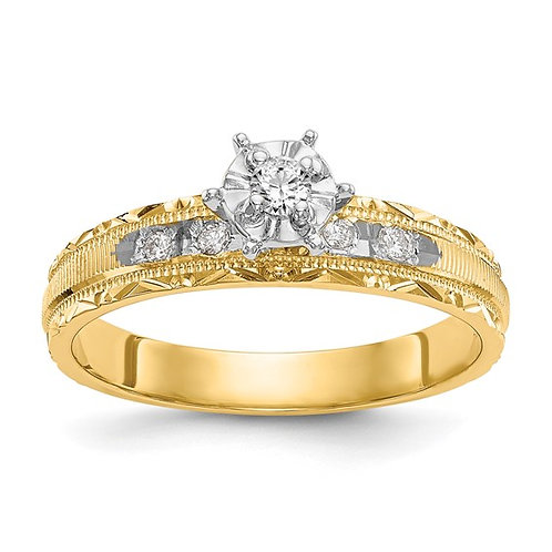 Gorgeous AA Quality 14K Yellow Gold & Diamond Engagement Ring