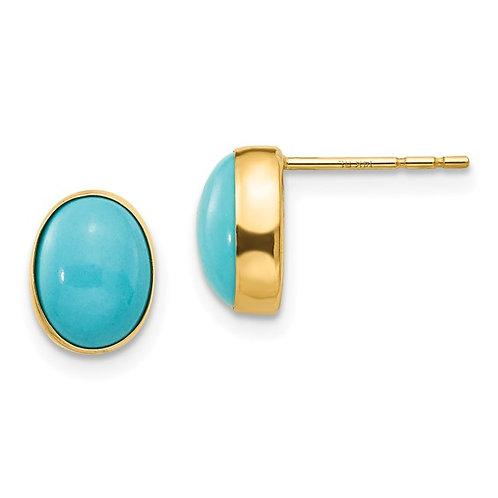 14k Madi Bezel Set Oval Turquoise Post Earrings GORG!