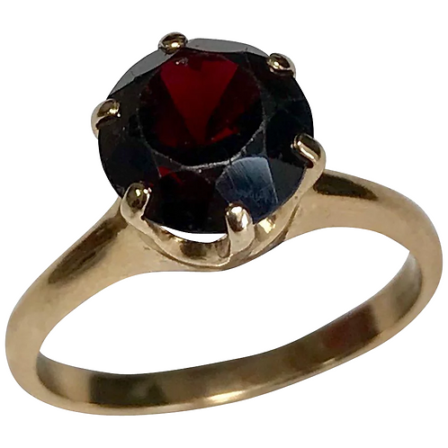 14 K Yellow Gold 2.50 Carat Round Solitaire Garnet Ring