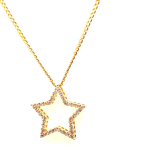 Bling Bling! Diamond & Handcrafted 14k Yellow Gold Star Pendant and Necklace