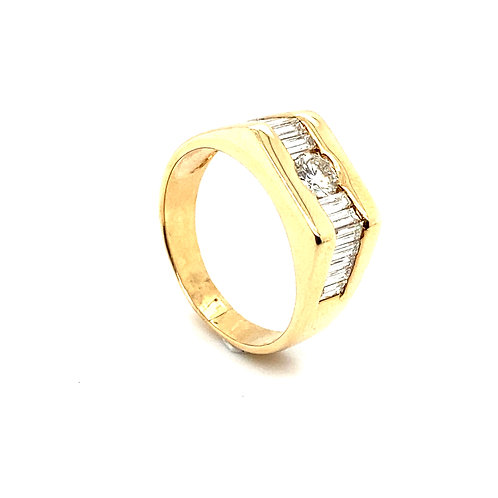 Stunning Men's 14K Solid Gold 1.90 Carats Diamond Statement Ring