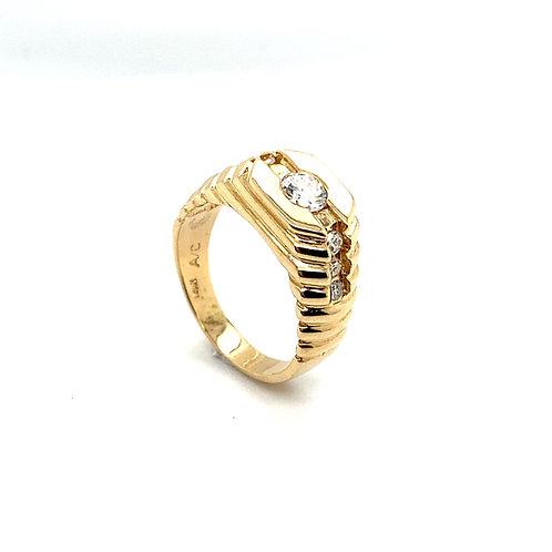 Stunning Men's 14K Solid Gold 0.65 Carats Diamond Ring