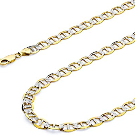 """Pave Flat Mariner Handcrafted 10K Gold Chain Necklace Measures 25"""" 6.5mm"""