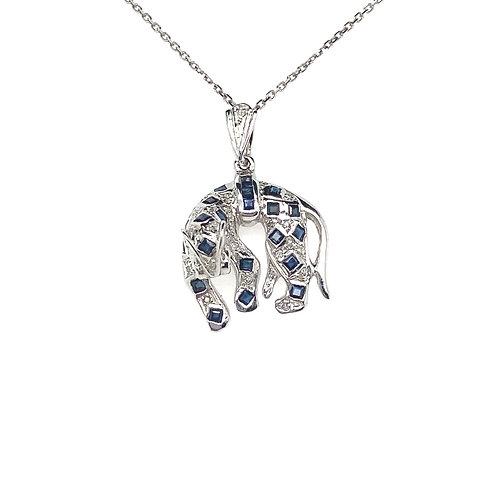 Beautiful 14K White Gold Sapphire Jaguar Necklace