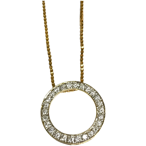 14 K Yellow Gold 1.00 CTW Circle Of Love Diamond Necklace