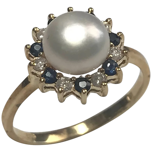 14 K Yellow Gold 7 mm White Cultured Pearl, Sapphire & Diamond Ring
