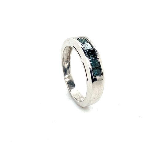 Men's 14K White Gold 0.55 Carats IGI Certified Turquoise Diamond Wedding Ring