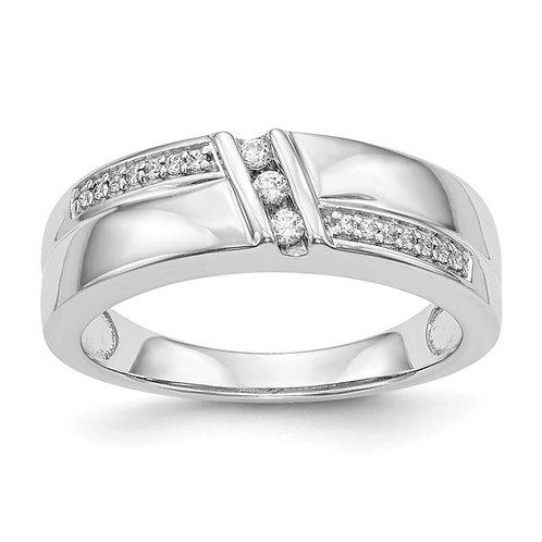 Men's 14k White Gold & Diamond Wedding Band Upscale Gorgeous Piece!