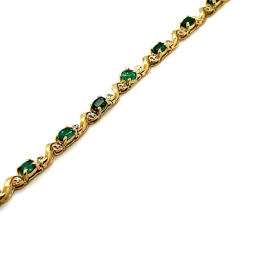 GORGEOUS Emerald & Diamond Tennis Bracelet Set in Handcrafted 10K Yellow Gold