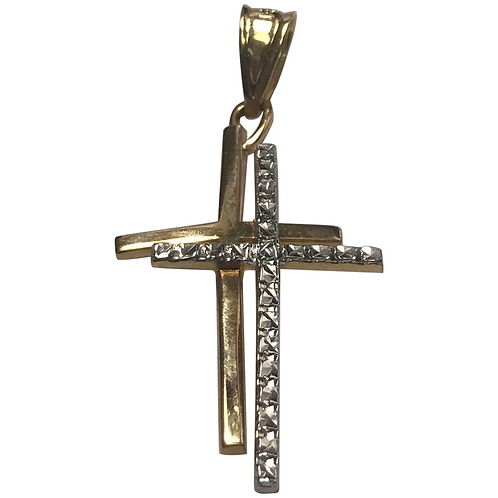 14 K Yellow/White Gold Double Cross