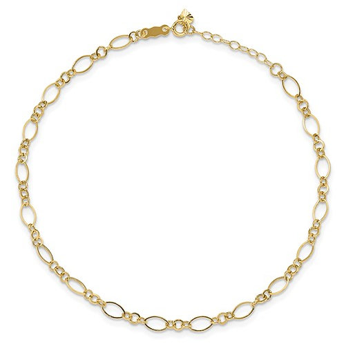 """14k Yellow Gold Open Link Anklet Measures 9"""" w/1"""" Extender 4mm Super Cute!"""