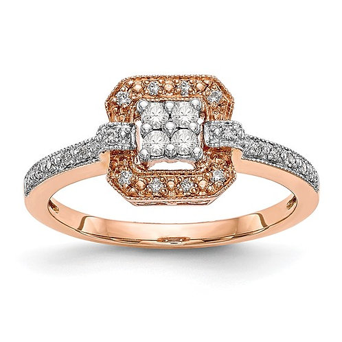 Beautiful 14k Rose Gold Cluster Diamond Engagement Ring