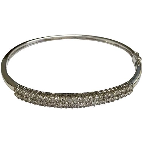 14 K White Gold 1.24 CTW Diamond Hinged Bangle Bracelet