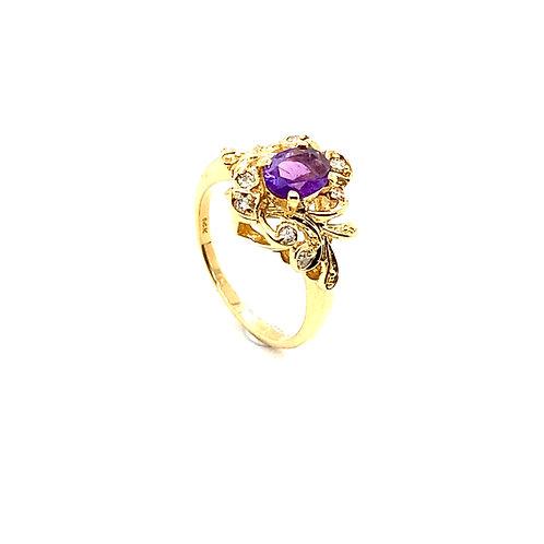 Floral Design 14K Gold 0.5 Carat Amethyst andDiamond Ring