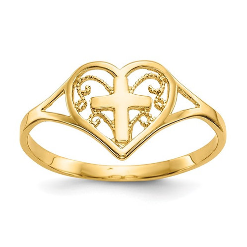 14k Polished Yellow Gold Heart w/Cross Religious Love Ring Super Sweet!