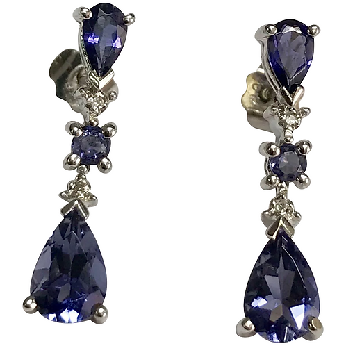 10 K White Gold Iolite and Diamond Pierced Dangle Earrings