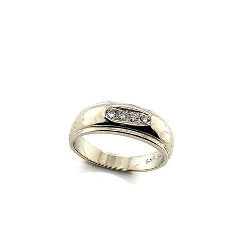 Beautiful Men's 14K Handcrafted White Gold & Diamond Ring 10ct of Diamonds 5mm