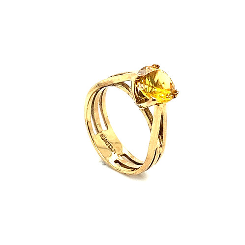 Stunning 10K Gold 2 Carats Lemon Quartz Ring