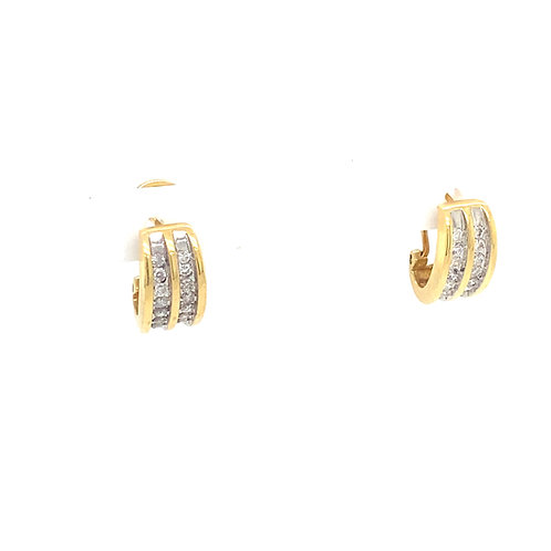 EGI Certified .44ct Diamond Half Hoop Earrings 14k Yellow Gold